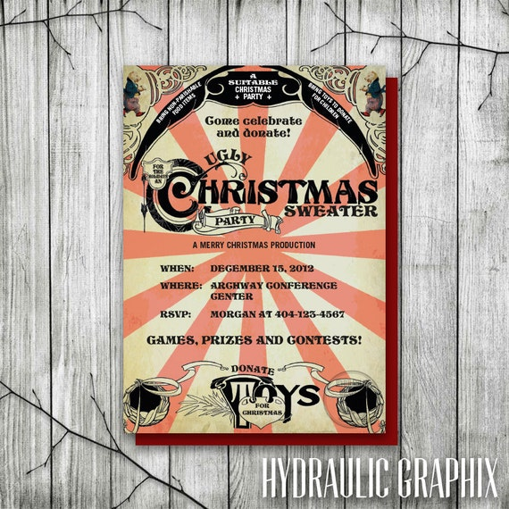 Tacky Christmas Sweater Party Invitation, Ugly Christmas Sweater Party, Printable Christmas Party Invitation, Charity Event Invitation