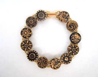 Black and Gold Glass Embossed Button Link Bracelet