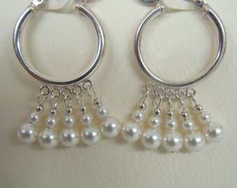 Sterling Silver Hoop and White Glass Swarovski Pearl Bead Dangle Pierced Earrings