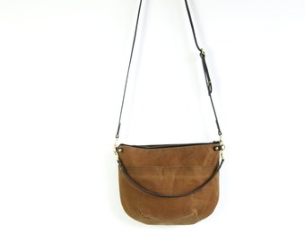 Canvas Cross Body Shoulder Bag - NEVIS -  Tan - Zip Top  Waxed Canvas  Adjustable Leather Shoulder Bag by Holm
