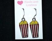 Popcorn Enamel Charm Earrings - Pierced Ears or Clip-On