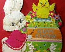 Happy Easter vintage Die-Cut paper Easter Decoration with Cute Rabbit painted a Giant Easter Egg