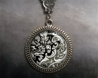 Victorian Design Art Nouveau necklace, Neo-Victorian necklace, Victorian jewelry, black & white jewelry
