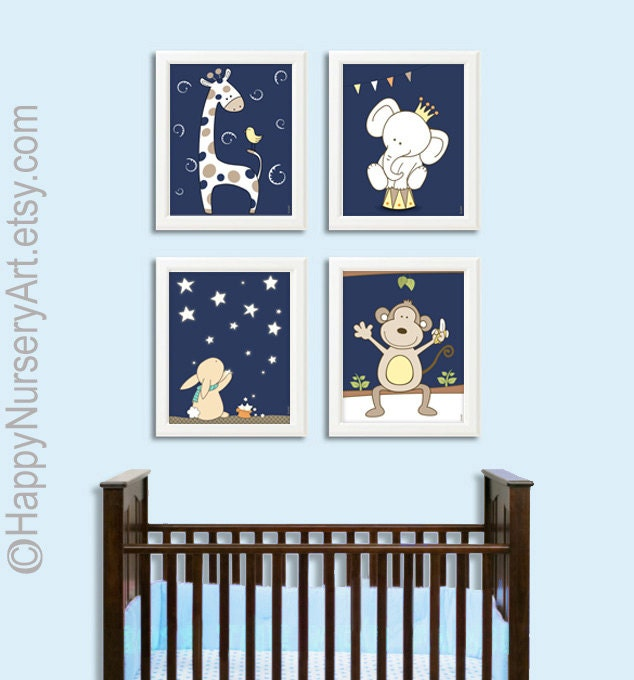 Navy Blue Wall Decor Nursery : Boys nursery wall art navy blue by happynurseryart