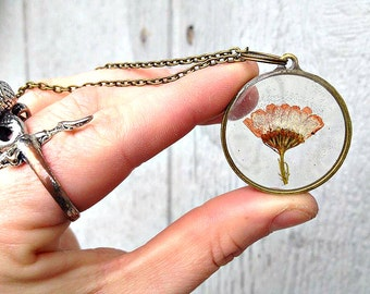 Real Pink Chrysanthemum Flower Dried, Pressed + Preserved in Resin, enclosed in a round bronzel Frame setting. Bronze Chain Necklace.