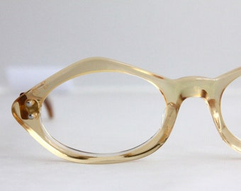 Vintage 50's Lemon Chiffon Cat Eye Eyeglasses Sunglass Frames