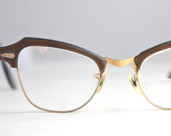 Vintage Damaged 50's Coffee 12K Horn Cat Eye Eyeglasses