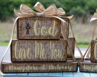 God Gave Me You Family Blocks-Dark Chocolate Family Blocks with Religious Cross Pattern