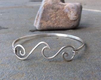 Sterling silver jewelry,  Ocean wave sterling silver bangle bracelet