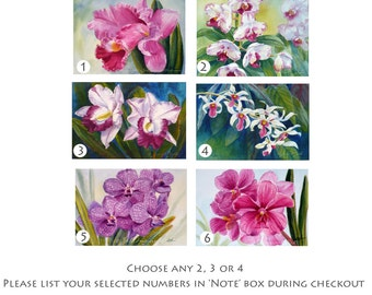 Orchid Paintings Special Price on Any Two, Three or Four 4x6 Original Art by Janet Zeh