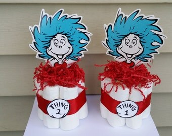 1 and thing 2 mini diaper cakes, baby shower centerpiece Dr. Seuss