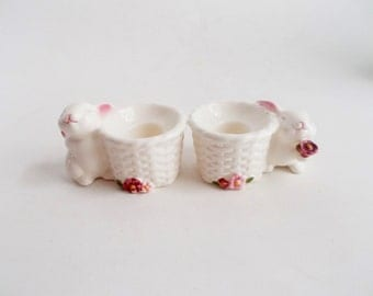 Vintage Avon Bunny Candle Holders Set of 2 1980's