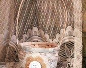 Shabby Chic Flower Girl Basket, Rustic, Felt Flower Girl Basket, Ivory, White and Tan by Green Orchid DS.