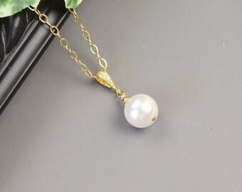 White Pearl Necklace - Gold White Swarovski Pearl Bridesmaid Necklace - Pearl Bridal Necklace - Bridesmaid Jewelry - Wedding Jewelry