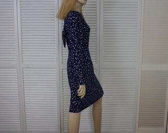 Vintage Navy Blue Polka Dot Wiggle Dress  Size 5/6