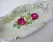 Roses Tray Vintage Scalloped Edge Iridescent Porcelain China German Relish Tray 1930s Romantic Country Shabby Chic Cottage French Farmhouse