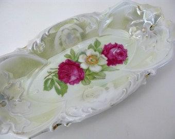 Roses Tray Vintage Scalloped Edge Iridescent Porcelain China German Relish Tray 1930s Shabby Cottage Chic