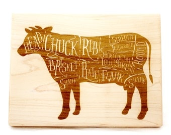 Wooden Cow Butcher Diagram Cutting Board. Maple hard wood, Gift idea for Hostess & Gourmet. Beef Butcher's Diagram Board.
