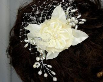 Bridal Hair Comb Ivory Satin Flower Hair Beaded Vine
