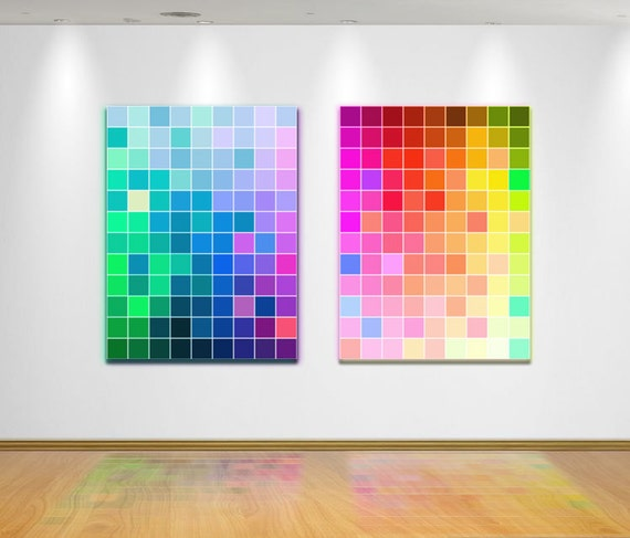 "Color Swatch Canvas Art - Bold Primary Color Spectrum Wall Decor - Pair of Two Gallery Wraps - Modern Art - "" Synchronized Swatches """