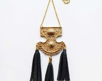 SALE! Tassel Necklace, Black Tassle Tribal Jewelry, Tassel Necklace Unique Statment, Leather Fringe Necklace, Vintage Brooch Pendant
