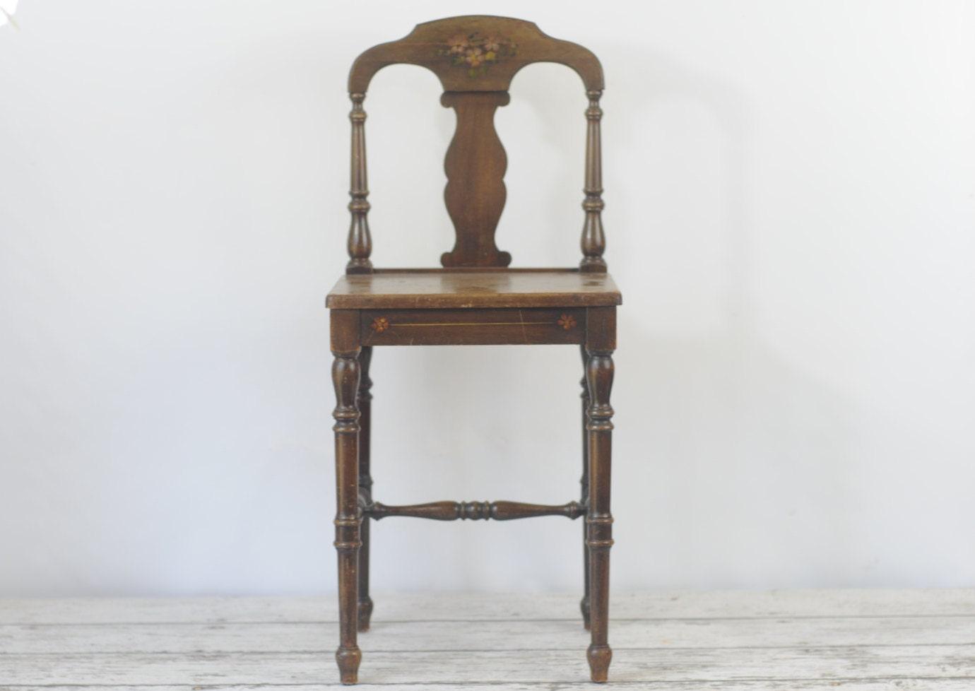 Antique vintage vanity chair wood vanity chair small wood - Antique vanity stools ...