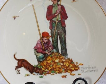 1974 Norman Rockwell Gorham China Decorative Plate- Collectors Limited Edition- Four Seasons Series 1948- Fall- Pensive Pals