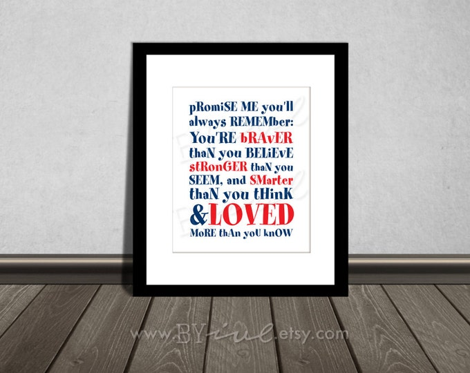 You are BRAVER than you believe, Winnie the Pooh quotes, Nursery printable. Navy blue and red. DIY Printable.