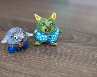 SALE Monster Totem / Snort the Pajama Monster and Bark the Belt Buckle Monster / Pick your Friendly Monster