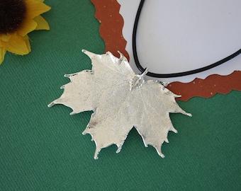 SALE Leaf Necklace, Maple Leaf, Silver Sugar Maple Leaf, Real Leaf Necklace,Silver Maple Leaf Pendant, SALE135