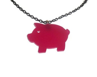 Hot Pink Pig Necklace, Cute Perspex Laser Cut Animal, Quirky Kitsch Jewelry