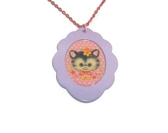 Cat Cameo Necklace, Vintage Kitten Illustration, Pastel Lilac Cute Kawaii Jewelry