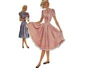 McCall's 7033 Sewing Pattern 40s Garden Party Tea Dress Full Twirl Skirt Fitted Bodice Ruffle Hem Vintage Depression Era Fashion Bust 26