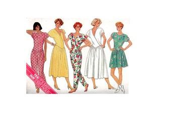 New Wave Style Hip Hop Pantsuit Jumper Butterick Sewing Pattern Drop Waist Dress Full Skirt Culottes Uncut FF Bust 34 36 38