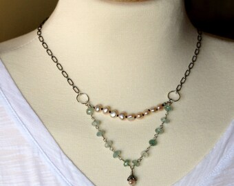 double strand labradorite & freshwater pearl bib necklace on oxidized sterling silver patterned chain / layered choker handmade by girlthree