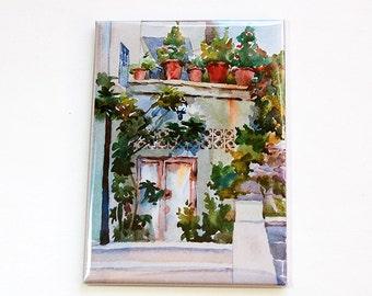 Magnet, Landscape Magnet, Street landscape magnet, Fridge magnet, ACEO, stocking stuffer, Mediterranean scene (4555)
