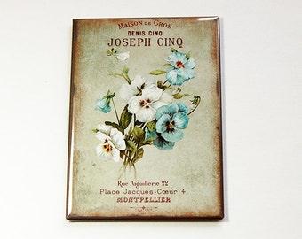 Flower Magnet, Fridge magnet, ACEO, Kitchen magnet, stocking stuffer, Magnet, Floral, Pansies, Pansies Magnet  (4565)