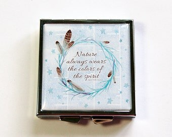 Square Pill case, 4 Sections, Pill case, Pill box, Square Pill box, Blue, Nature, Ralph Waldo Emerson, Quote about nature (4800)