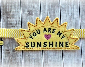 You are My Sunshine headband Slider Embroidered Chevron Print Elastic Headband