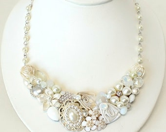 Bridal Statement Necklace-Vintage Inspired Statement Necklace-Shimmery Bridal Bib Necklace- Pearl Bridal Necklace- Bridal Statement Necklace