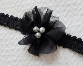 Black with Pearls Net Flower on a Stretchy Headband