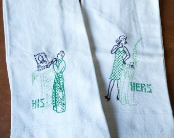 His and Hers Hand Towels Green Hand Embroidered Vintage