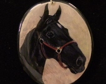 Custom Horse Portrait Pendant Made-to-Order from your photo// Pet Memorial Painting// Pet Loss, Dog, Horse, Cats, Pets, Animal Jewelry