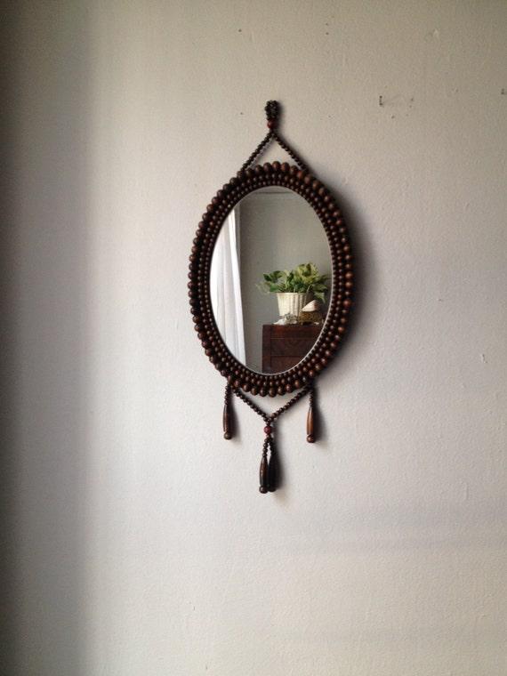 Miroir de boh me vintage de pendaison miroir de perles en for Miroir boheme
