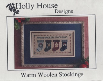 """Clearance - """"Warm Woolen Stockings"""" Counted Cross Stitch Chart by Holly House Designs"""