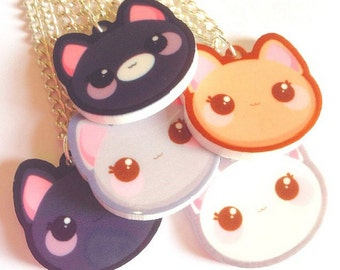 Cute Kawaii Laser Cut Kitty Cat Head Necklace