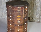 Primitive Lazy Susan Octagon Hardware Store Cabinet | Apothecary Cubby Hole Cabinet