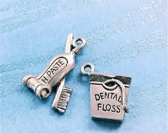 Dental Floss and Toothpaste - 4 pieces-(Antique Pewter Silver Finish)