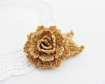 Crochet Brooch - Rose Brooch - Golden  Brooch - Mother's Day Gift - Party - Wedding Accessory - Boutonniere