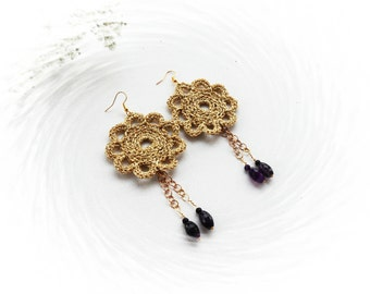 Crochet Earrings - Large Earrings - Dangle Earrings - Flower Earrings - Golden Earrings - Purple Agate Earrings